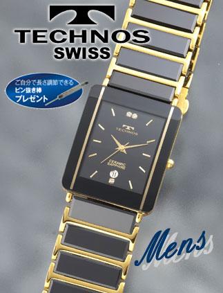 TECHNOS(テクノス)セラミックサファイア ブラック×ゴールド(23-0266)[メンズ] e通販.com