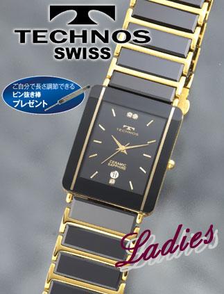 TECHNOS(テクノス)セラミックサファイア ブラック×ゴールド(23-0267)[レディース] e通販.com