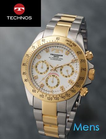 TECHNOS(テクノス)スポーツクロノグラフ ホワイトコンビ(23-0317)[メンズ] e通販.com