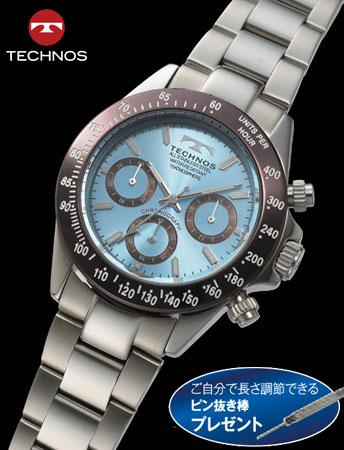 TECHNOS(テクノス)クロノグラフ クール・リミテッド(アイスブルー)(23-0550)[メンズ] e通販.com