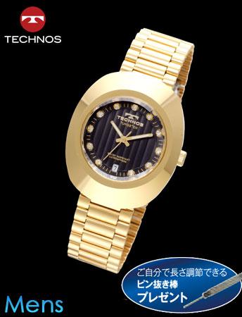 TECHNOS(テクノス)オーバルタングステン(ブラックxゴールド)(23-0585)[メンズ] e通販.com