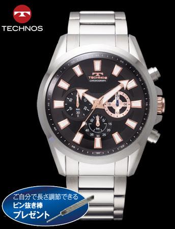 TECHNOS(テクノス)クロノグラフスポーツ(ブラックxシルバー)(23-0601)[メンズ] e通販.com