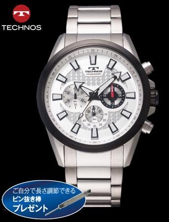 TECHNOS(テクノス)クロノグラフスポーツ(ホワイトxシルバー)(23-0602)[メンズ] e通販.com