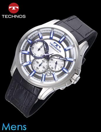 TECHNOS(テクノス)レザークロノグラフ(ホワイトxブラックベルト)(23-0619)[メンズ] e通販.com