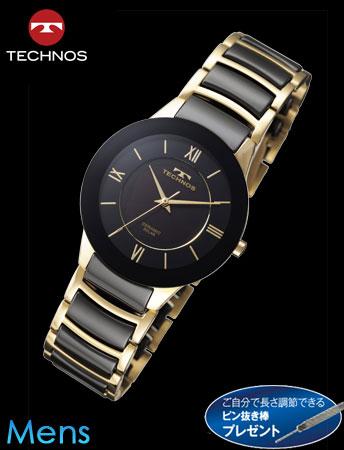 【新モデル】TECHNOS(テクノス)セラミックソーラー(ゴールドxブラック)(23-0625)[メンズ] e通販.com