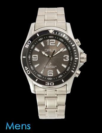 GRUSボイス電波ソーラー腕時計(ブラック)(26-0469) e通販.com