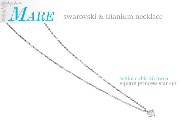スワロフスキースクエアカットホワイト チタンネックレス(30-3020) e通販.com