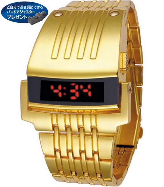 LEDメタルブレスレットウオッチ(ゴールド)【26-0435】 e通販.com