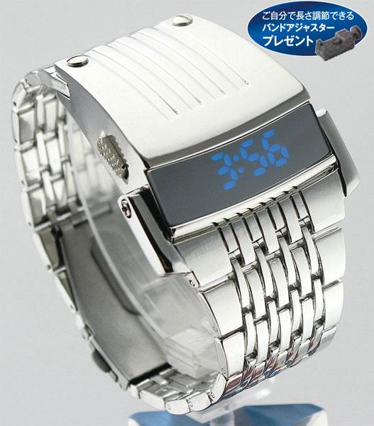 LEDメタルブレスレットウオッチ(シルバー)【26-0436】 e通販.com
